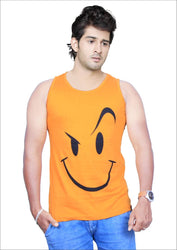 Men's Yellow Cotton Printed Slim Fit Activewear Tees