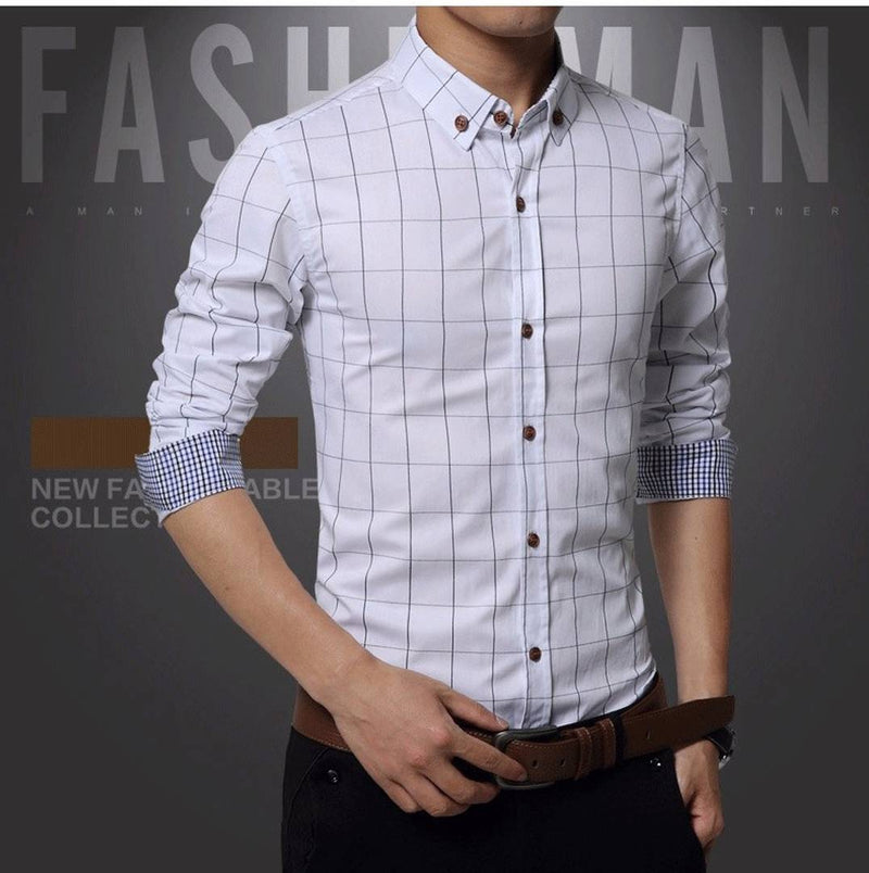 Men's White Cotton Checked Long Sleeves Regular Fit Casual Shirt