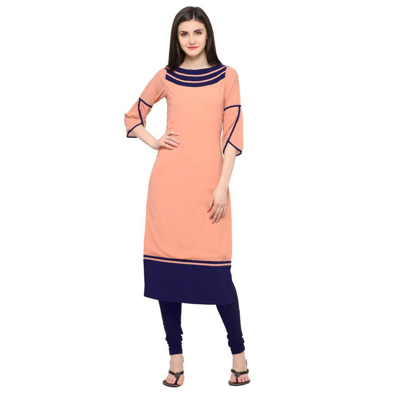 Peach Georgette Plain Kurta
