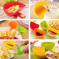 Multi-Purpose Coloured Party Dip Plastic Clips Bowl Set, Clip for Plates Sauce Cups - Set of 4 (Multi Colour)