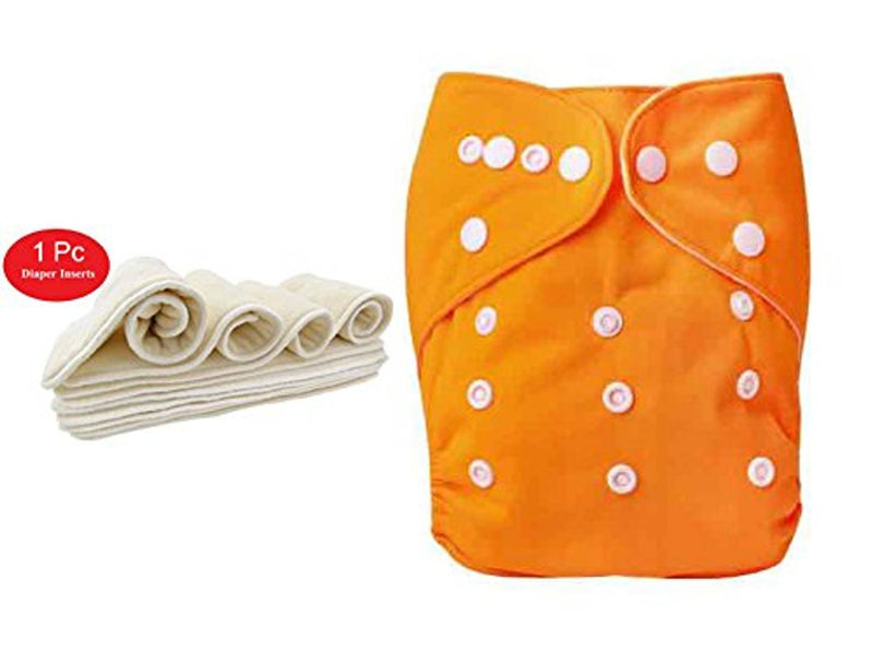 1pc Adjustable Reusable Baby Washable Cloth Diaper Nappies with Wet-Free Inserts for Babies of Ages 0 to 2 Years - Orange