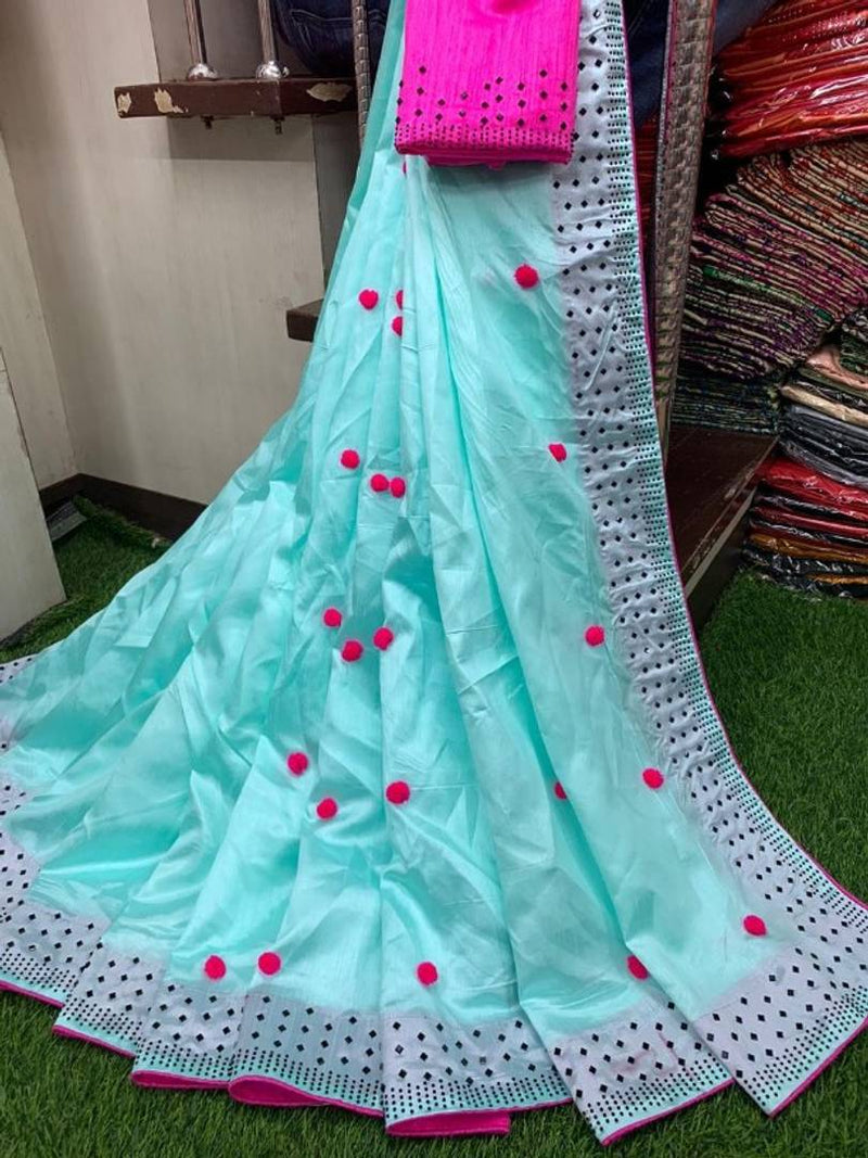 Beautiful Zoya Silk with Pom Pom Design Saree with Blouse piece