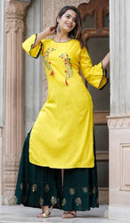 Expressive Style Yellow Embroidered Rayon Slub Women Kurta Sharara Set