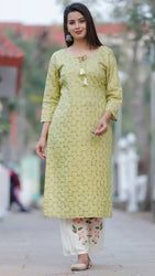 Contemporary Golden Rayon Slub Embroidered Women Kurta Palazzo Set