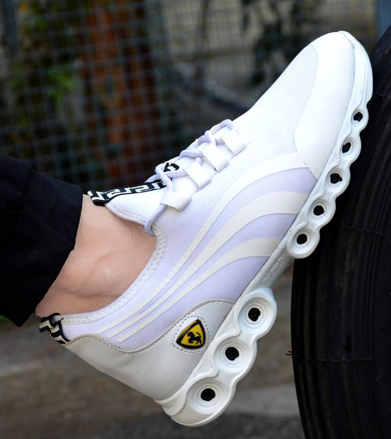 Men's Mesh Stylish White Sports Shoes