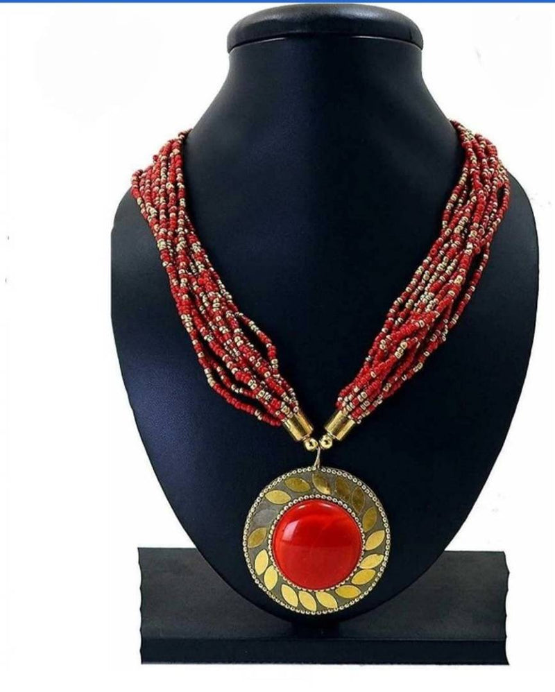 Trendy Handcrafted Red Beaded Pendent Necklace For Girls & Women