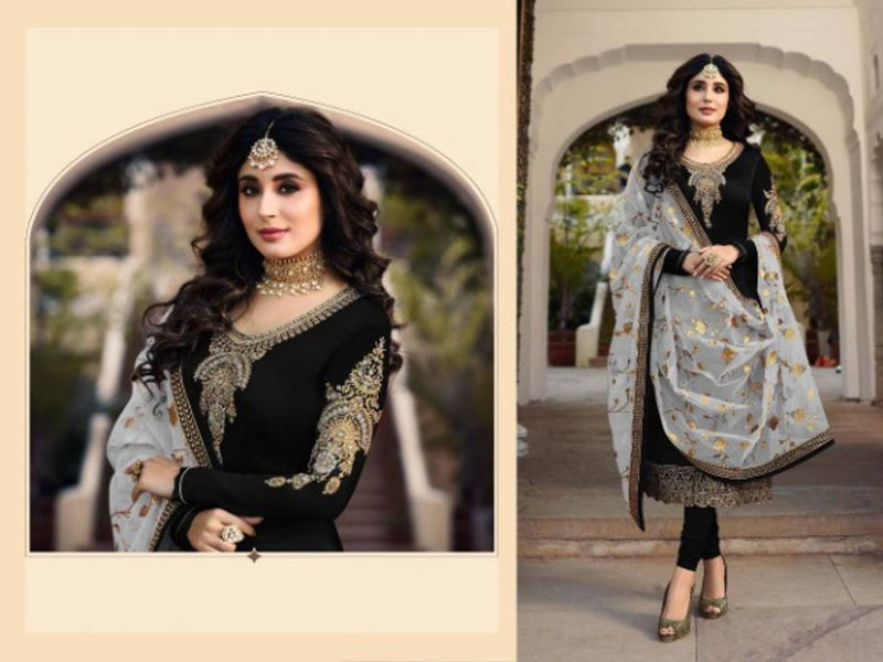 Satin Georgette & Embroidery Work Semi Stitched Dress Material With Dupatta