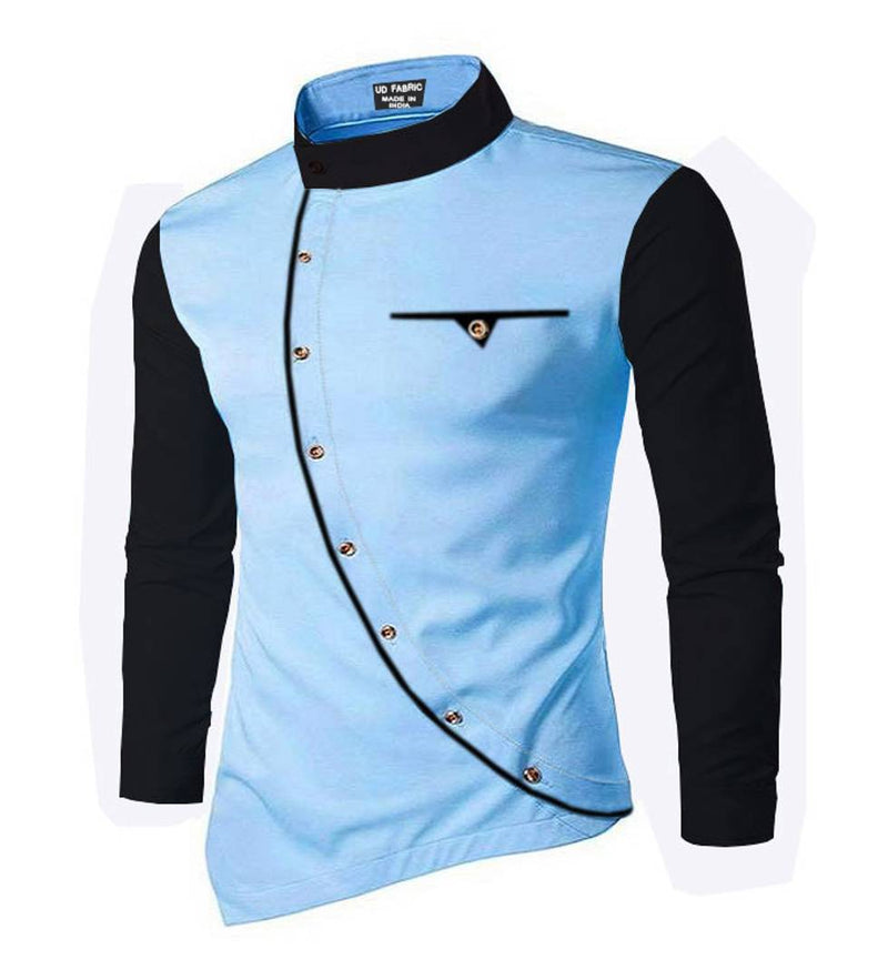 Men's Blue Cotton Self Pattern Long Sleeves Slim Fit Casual Shirt