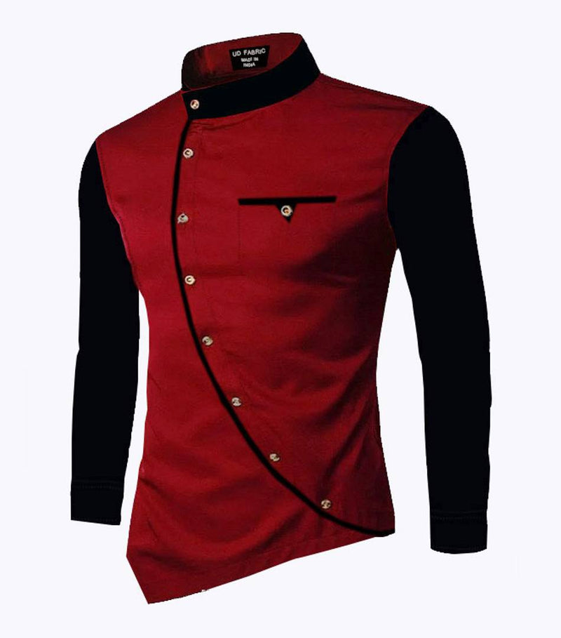 Men's Maroon Cotton Self Pattern Long Sleeves Slim Fit Casual Shirt