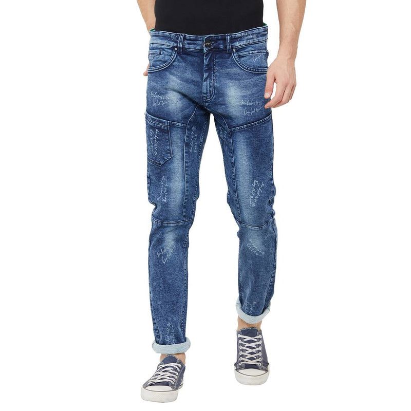 Men's Blue Denim Faded Skinny Fit Jeans