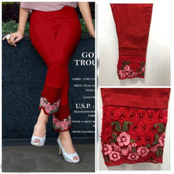 Trendy Embellished Cotton Spandex Pant For Women's