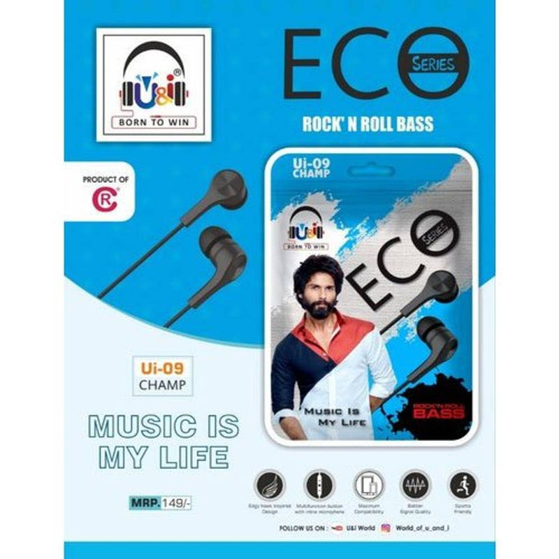 U&I Ui -09 Champ ECO Bass Series Earphones All mobiles ( Assorted Color)