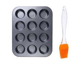 Non Stick Coated Aluminium 12 Mini Cups Muffin Cupcakes Baking Tray with Silicone Brush Kitchen Tool Set