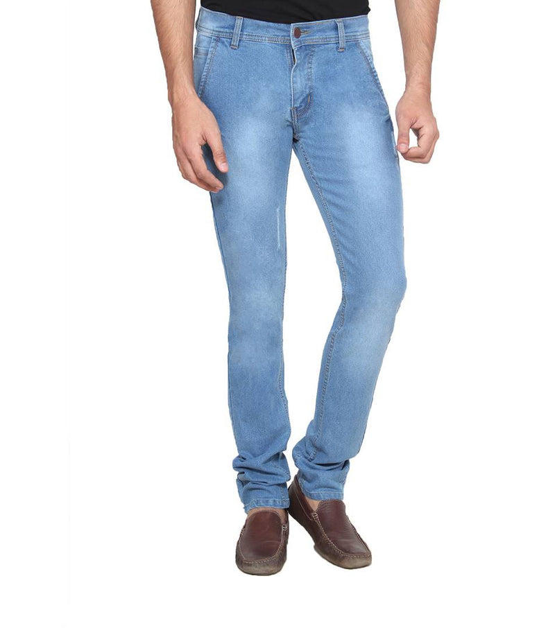 Men Blue Faded Regular Fit Denim Mid-Rise Jeans