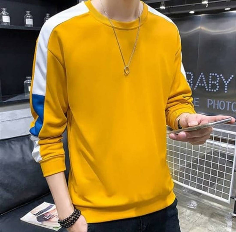 Yellow Self Pattern Cotton Round Neck T-Shirt