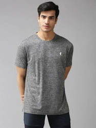 Grey Solid Polyester Round Neck Tees