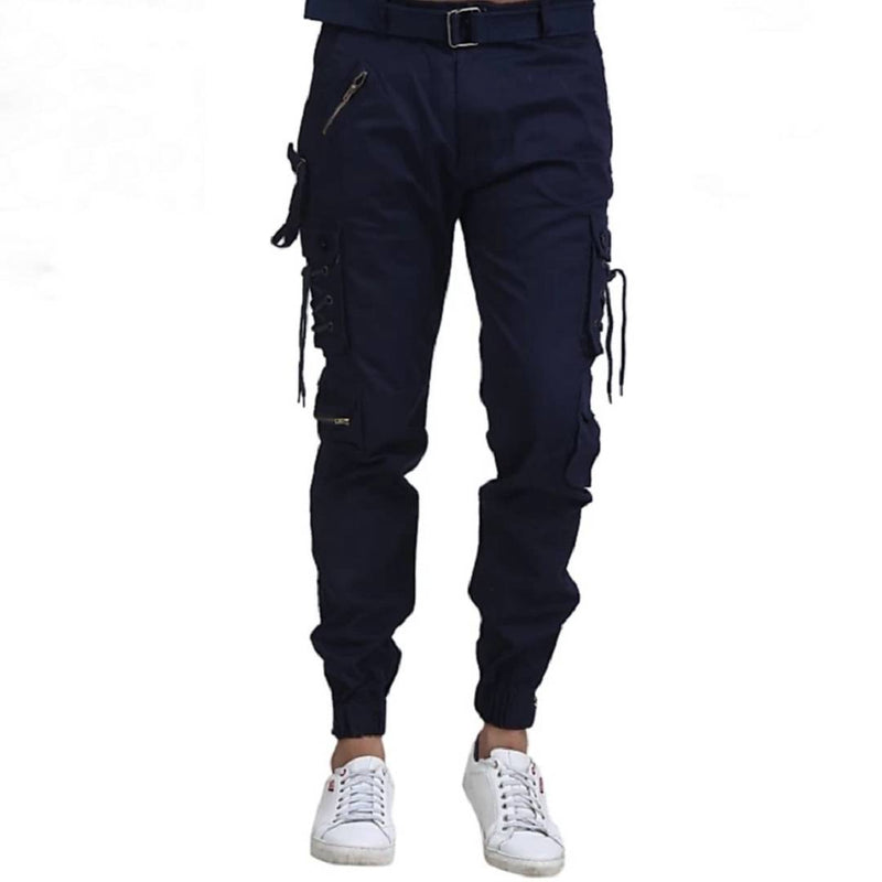 Men's Blue Cotton Solid Regular Fit Cargo