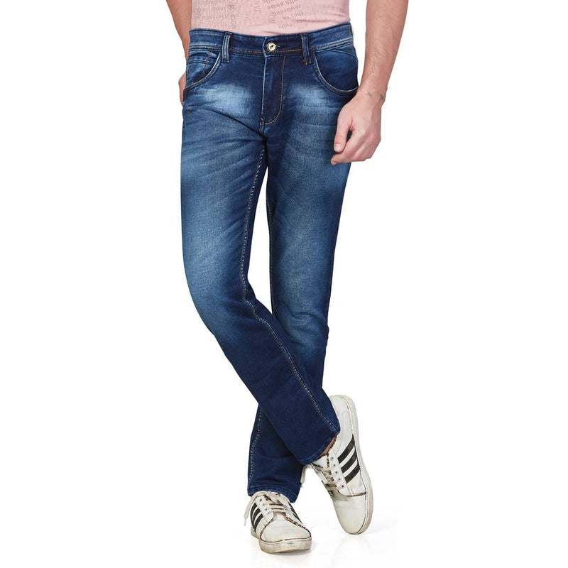 Men Blue Faded Cotton Spandex Regular Fit Mid-Rise Jeans