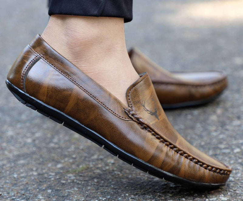 Classy Brown Artificial Leather Casual Loafer Shoes For Men