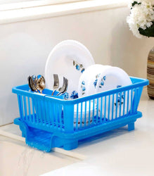 Essential Blue Plastic Washing Basket With Removable Tray