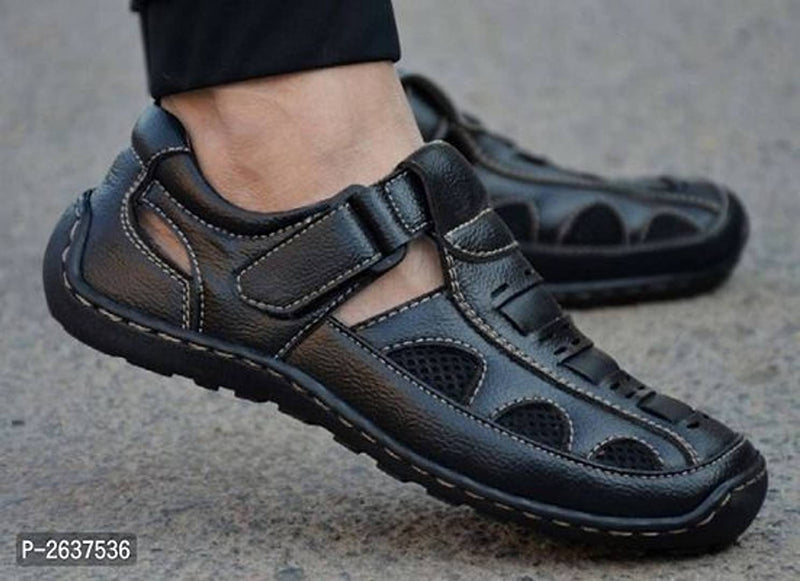 Men's Black Synthetic Comfort Sandal