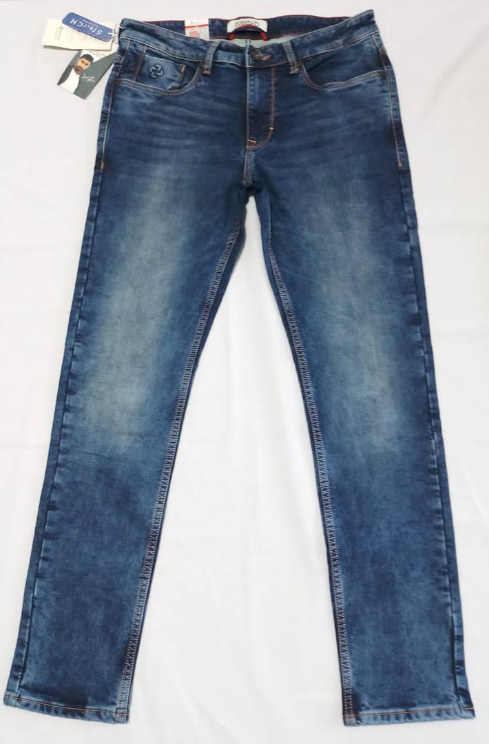 Premium Dark Blue Cloud Wash Knits Men Jeans