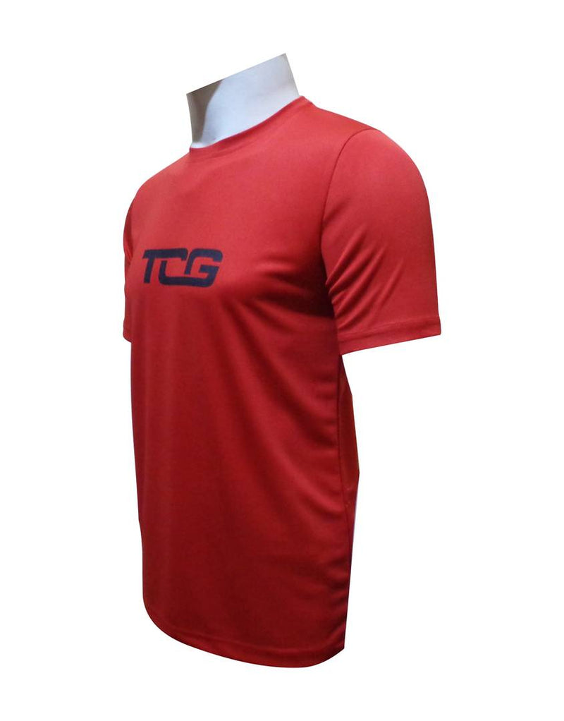 Men's Red Polyester Blend Printed Sports Jerseys Tees