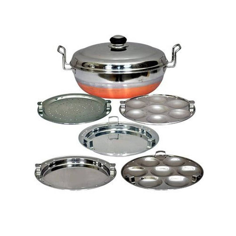 Premium Stainless Steel Kalash 5 In 1 Copper Bottom Multi Kadai With Steel Lid