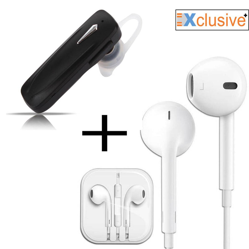 Single Ear Bluetooth & Wired Earphone White Combo
