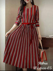 Stylish Multicoloured Crepe Striped Dress For Women