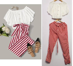 Gorgeous Cotton Blend Solid Top And Striped Bottom Set For Women