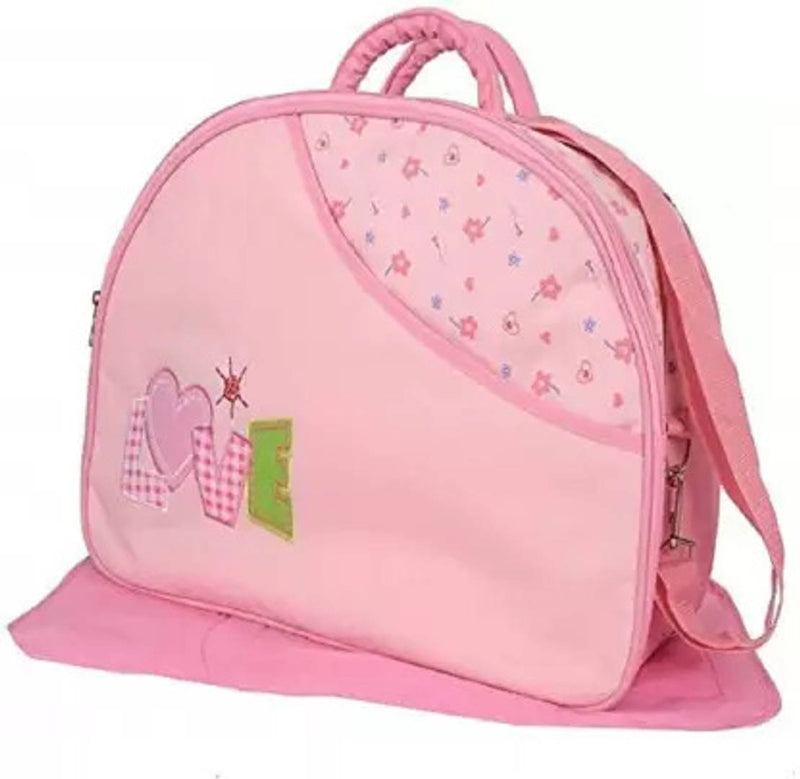 Honey Shopee New Born Baby Multipurpose Polyester Diaper/Mother Bag with Holder Diaper Changing Multi Compartment (Printed) Print May Vary (Pink)