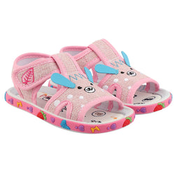 Girls Pink Fabric Solid Comfort Sandals