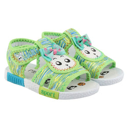 Girls Green Fabric Solid Comfort Sandals