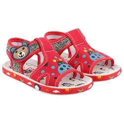 Girls Red Fabric Solid Comfort Sandals