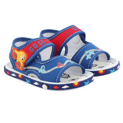 Girls Blue Fabric Solid Comfort Sandals