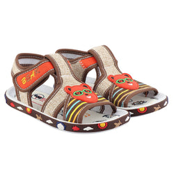 Girls Beige Fabric Solid Comfort Sandals