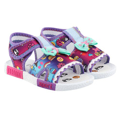 Girls Purple Fabric Solid Comfort Sandals