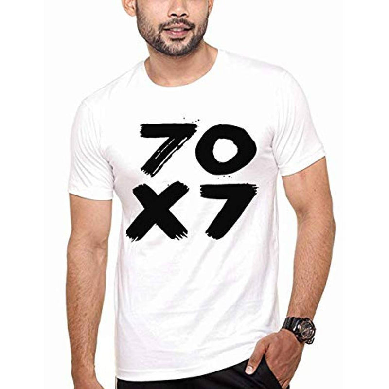 Men's White Printed Cotton Round Neck Tees