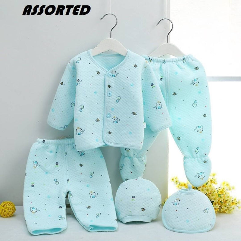 Presents New Born Baby Winter Wear Keep warm Cartoon Printing Baby Clothes 5Pcs Sets Cotton Baby Boys Girls Unisex Baby Fleece / Falalen Suit Infant Clothes First Gift For New Baby
