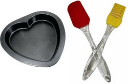 Non Stick Coated Heart Shape Baking Mould with Reusable Silicone Brush and Spatula Baking Combo Set