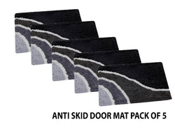 Abstract Cotton Door Mat with Anti skid Back Pack of 5