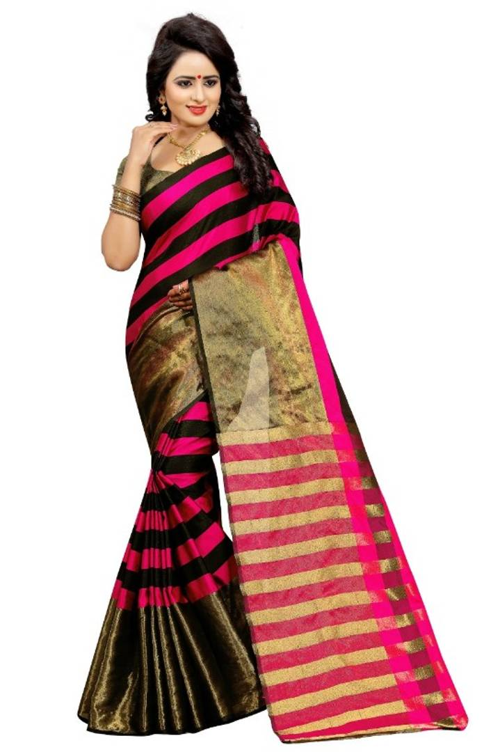 Women's Beautiful  Multicoloured Aura Silk Saree with Blouse Piece