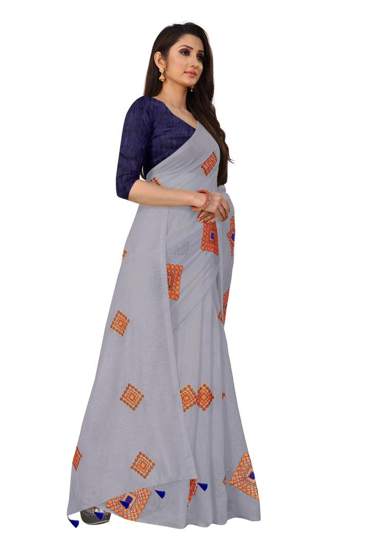 Wiomen's Grey Chanderi Cotton Embroidered Saree with Blouse piece