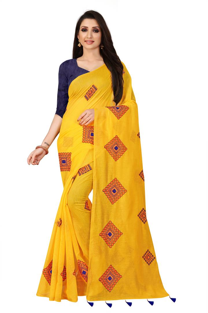 Wiomen's Yellow Chanderi Cotton Embroidered Saree with Blouse piece