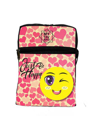 Premium Polyester Just Be Happy Messenger Sling Bag For Women And Men