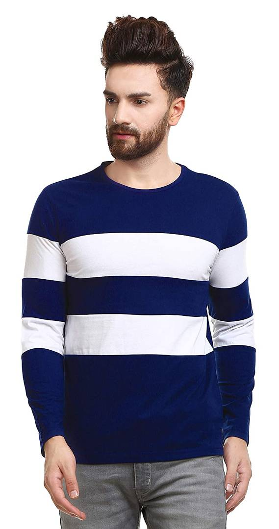 Stylish Blue Cotton Colourblocked Round Neck T-Shirt For Men