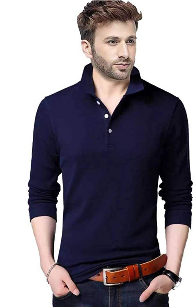 Stylish Blue Cotton Solid Polo T-Shirt For Men