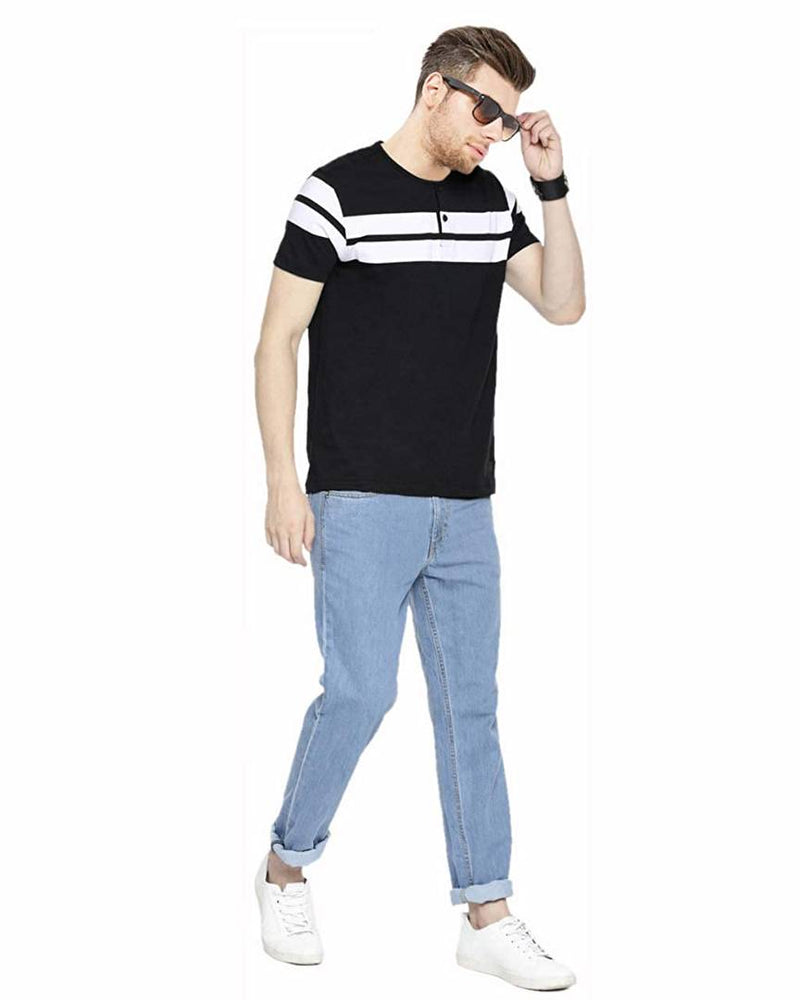 Stylish Black Cotton Striped Round Neck T-Shirt For Men