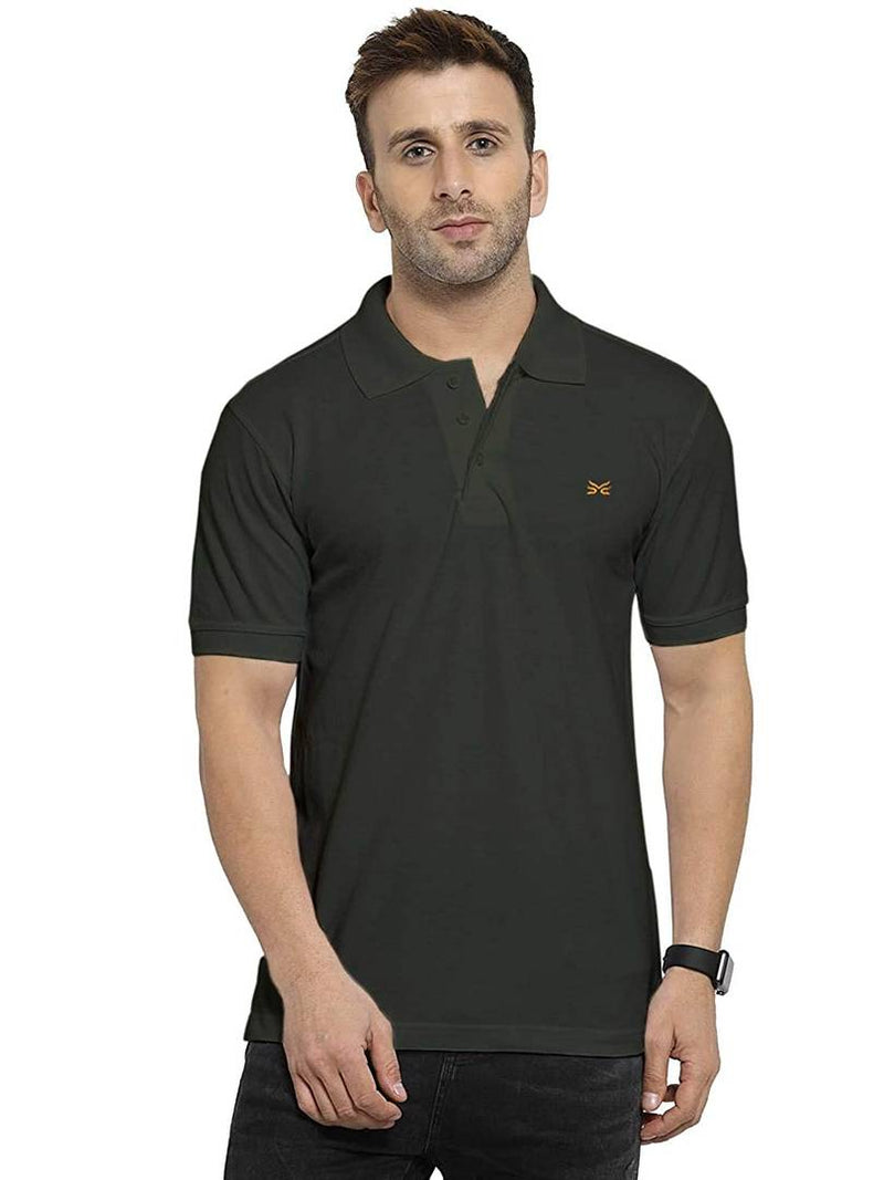 Stylish Olive Cotton Solid Polo T-Shirt For Men